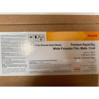 Kodak Premium Rapid-Dry White Polyester Film , Matte / 5 mil ,106,6cm x 30m  (42in x 100ft)