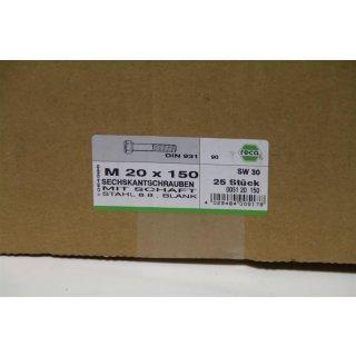 reca Sechskantschraube mit Schaft DIN 931 8.8, SW 30 M20 x 150  25 Stück