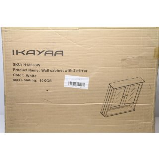iKayaa Moderner 2-türiger Wandschrank mit Glastüren H18663W weiß
