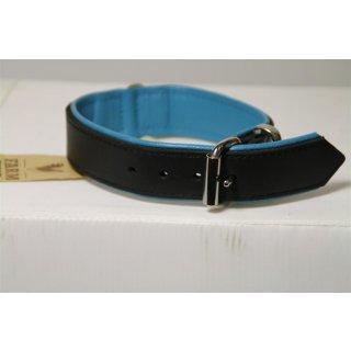Hunde Halsband inkl. Leine Leder schwarz-türkis