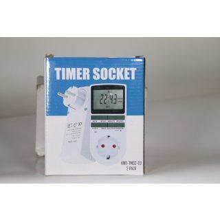 2 er Pack Digitale Zeitschaltuhr Steckdose mit 10 konfigurierbaren wöchentlichen Programme für Innen (230V / 16A / 3680W)