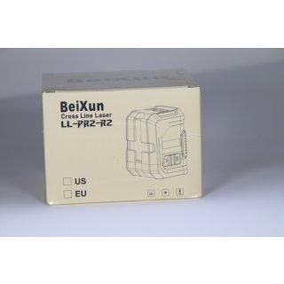 Kreuzlinienlaser, BeiXun Kreuz-Linienlaser mit Messbereich 15M mit Dualem Lasermodul 360° Umschaltbar Vertikale und Horizontale mit Halterung, Inklusive Batterie