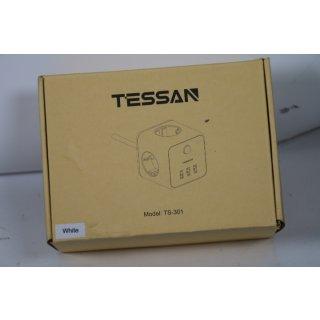 TESSAN Steckdosenleiste Cube, Steckdosenwürfel Mehrfachsteckdose Würfel 3 Fach Steckdose 3 USB mit Schalter, Mehrfachstecker Verlängerungskabel Kompatibel mit Phone für Zuhause Büro, 1,5m Weiß