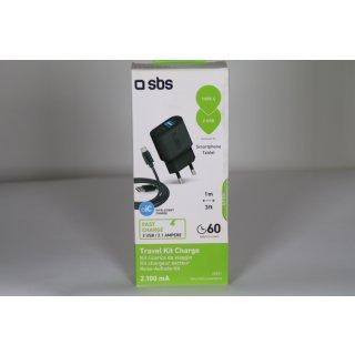 SBS USB Ladegerät 2100 mAh 1x USB 2.1A, 1x USB 1A, mit Typ C Kabel 1 Meter