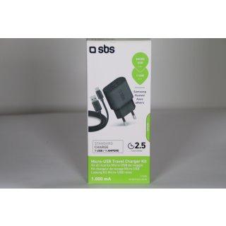 SBS USB Ladegerät 1000 mAh 1x USB 1A, mit Micro USB Kabel 1 Meter, schwarz