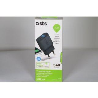 SBS USB Ladegerät 3100 mAh mit 1x USB 2.1A, 1x USB 1A